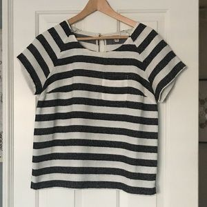 Black & White striped blouse with pocket